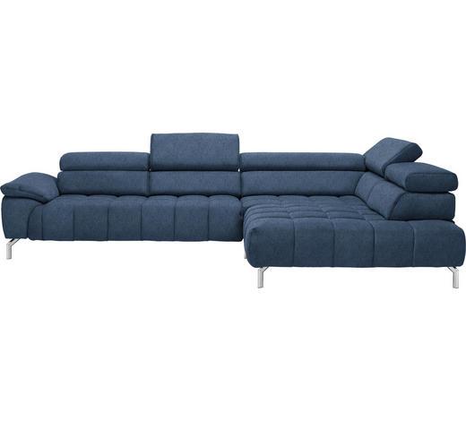 WOHNLANDSCHAFT in Textil Blau - Chromfarben/Blau, Design, Textil/Metall (323/222cm) - Beldomo Style