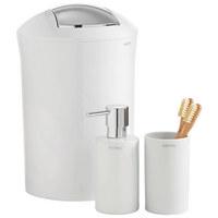 Zahnputzbecher - Weiß, Design, Keramik (7/11.5/7cm) - Spirella