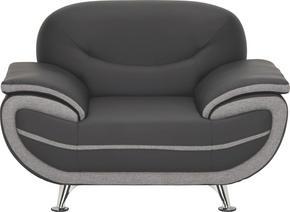 FÅTÖLJ - kromfärg/grå, Design, metall/textil (126/85/87cm) - Low Price