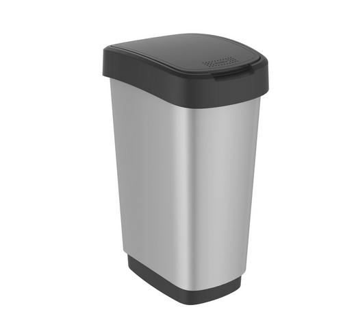 ABFALLEIMER Kunststoff - Silberfarben/Schwarz, Basics, Kunststoff (40,1/29,8/60,2cm) - Rotho