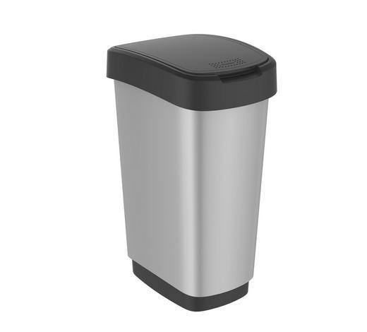 ABFALLEIMER 50 l  - Silberfarben/Schwarz, Basics, Kunststoff (40,1/29,8/60,2cm) - Rotho