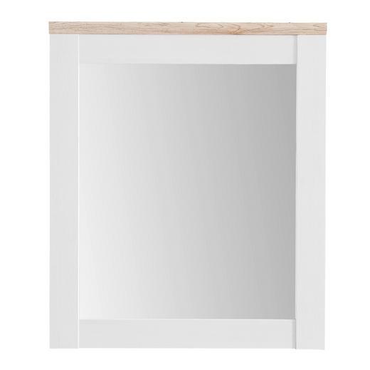 SPIEGEL Eichefarben, Weiß - Eichefarben/Weiß, Design, Glas/Holzwerkstoff (76/91/4cm) - Xora
