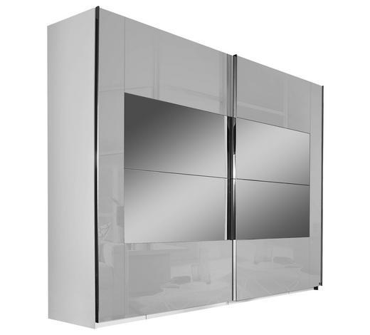 SCHWEBETÜRENSCHRANK Hellgrau  - Chromfarben/Hellgrau, Design, Glas/Holzwerkstoff (271/223/68cm) - Xora