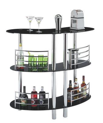 BAR in Chromfarben, Schwarz - Chromfarben/Schwarz, Design, Glas/Metall (120/106/45cm) - CARRYHOME