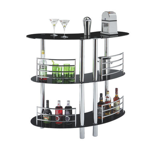 BAR in Schwarz, Chromfarben - Chromfarben/Schwarz, Design, Glas/Metall (120/106/45cm) - Carryhome