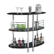 BAR - kromfärg/svart, Design, metall/glas (120/106/45cm) - Carryhome