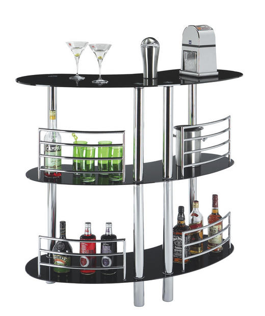 BAR - kromfärg/svart, Design, metall/glas (120/106/45cm) - Carryhome