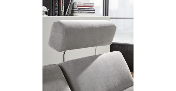 WOHNLANDSCHAFT inkl.Funktionen Hellgrau Webstoff  - Dunkelbraun/Hellgrau, Design, Kunststoff/Textil (258/166cm) - Cantus