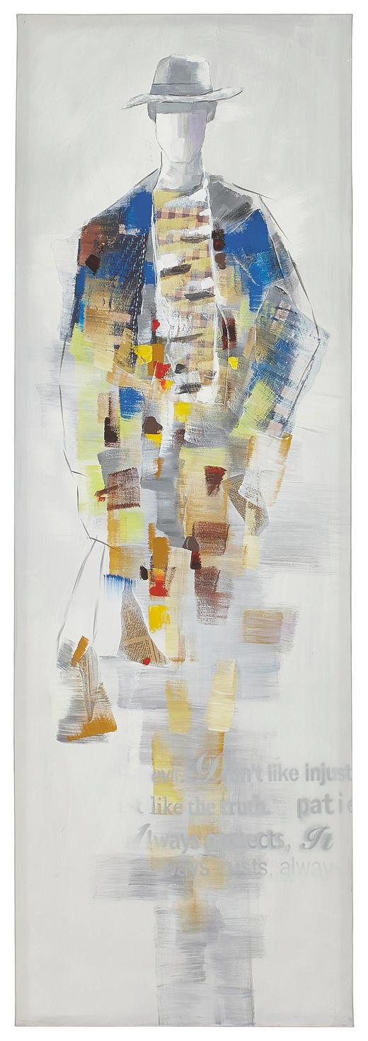 Abstraktes ÖLGEMÄLDE - Multicolor, Basics, Holz/Textil (60/180cm) - MONEE