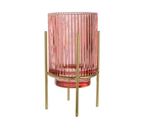 TEELICHTHALTER - Pink/Goldfarben, Trend, Glas/Metall (10/17cm)