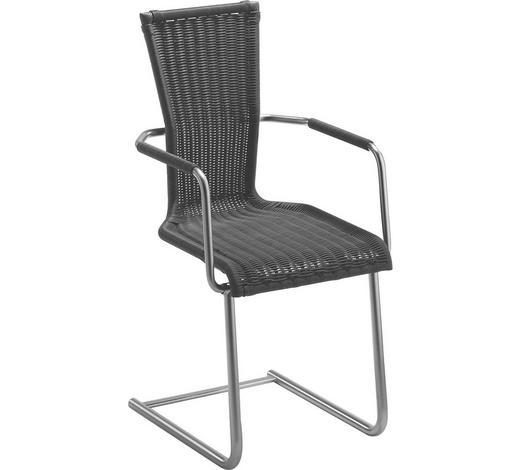 SCHWINGSTUHL in Metall, Kunststoff Schwarz, Chromfarben  - Chromfarben/Schwarz, Design, Kunststoff/Metall (45/96/56cm) - Bacher