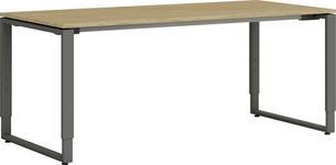 SCHREIBTISCH Eiche massiv Anthrazit, Eichefarben  - Eichefarben/Anthrazit, Design, Holz/Metall (180/68-82/80cm) - Moderano