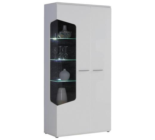 VITRINE Weiß, Eichefarben  - Eichefarben/Alufarben, Design, Glas/Holz (100/201/41cm) - Hom`in