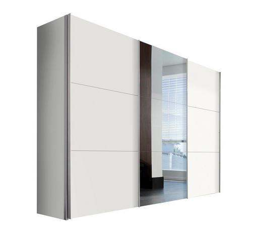 SCHWEBETÜRENSCHRANK 3-türig Weiß - Alufarben/Weiß, KONVENTIONELL, Glas/Holzwerkstoff (300/216/68cm) - Hom`in