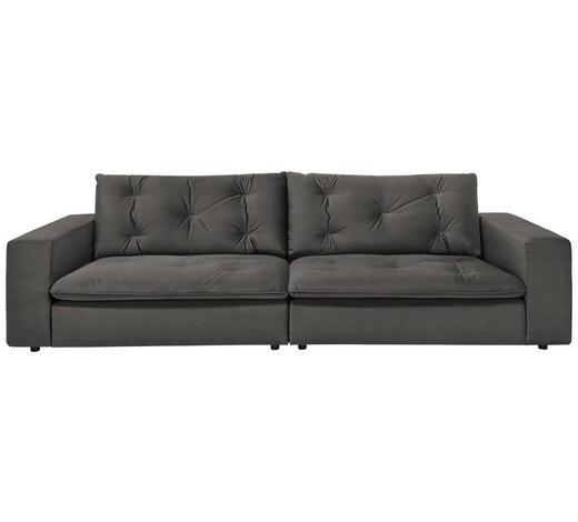SOFA in Textil Grau, Dunkelgrau - Dunkelgrau/Schwarz, Design, Kunststoff/Textil (290/87/122cm) - Ambiente