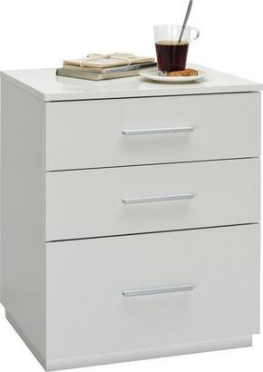 SÄNGBORD - vit/alufärgad, Design, träbaserade material/plast (50/60/40cm) - Carryhome