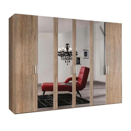 DREHTÜRENSCHRANK 6-türig Sonoma Eiche - Alufarben/Sonoma Eiche, KONVENTIONELL, Glas/Holzwerkstoff (300/216/58cm) - Hom`in