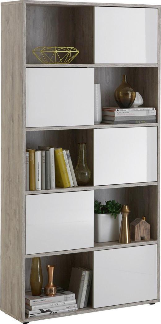 REGAL Eichefarben, Weiß - Eichefarben/Schwarz, Design, Kunststoff (90/182/33cm) - Carryhome