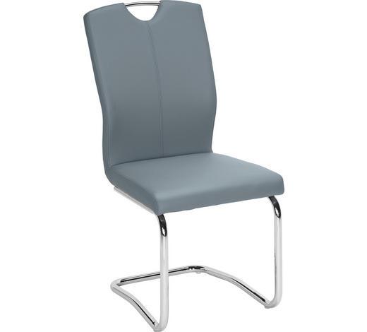 SCHWINGSTUHL in Metall, Textil Blau, Chromfarben - Blau/Chromfarben, Design, Textil/Metall (58,5/99,5/46cm) - Hom`in