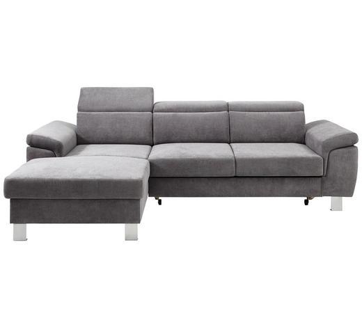 WOHNLANDSCHAFT in Textil Grau - Silberfarben/Grau, Design, Textil/Metall (167/250cm) - Xora