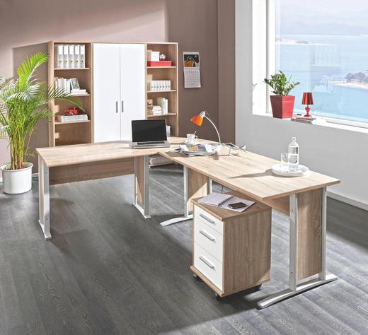 Büro Kombination Eichefarben, Weiß - Eichefarben/Weiß, Design (184/186/35cm) - Cantus
