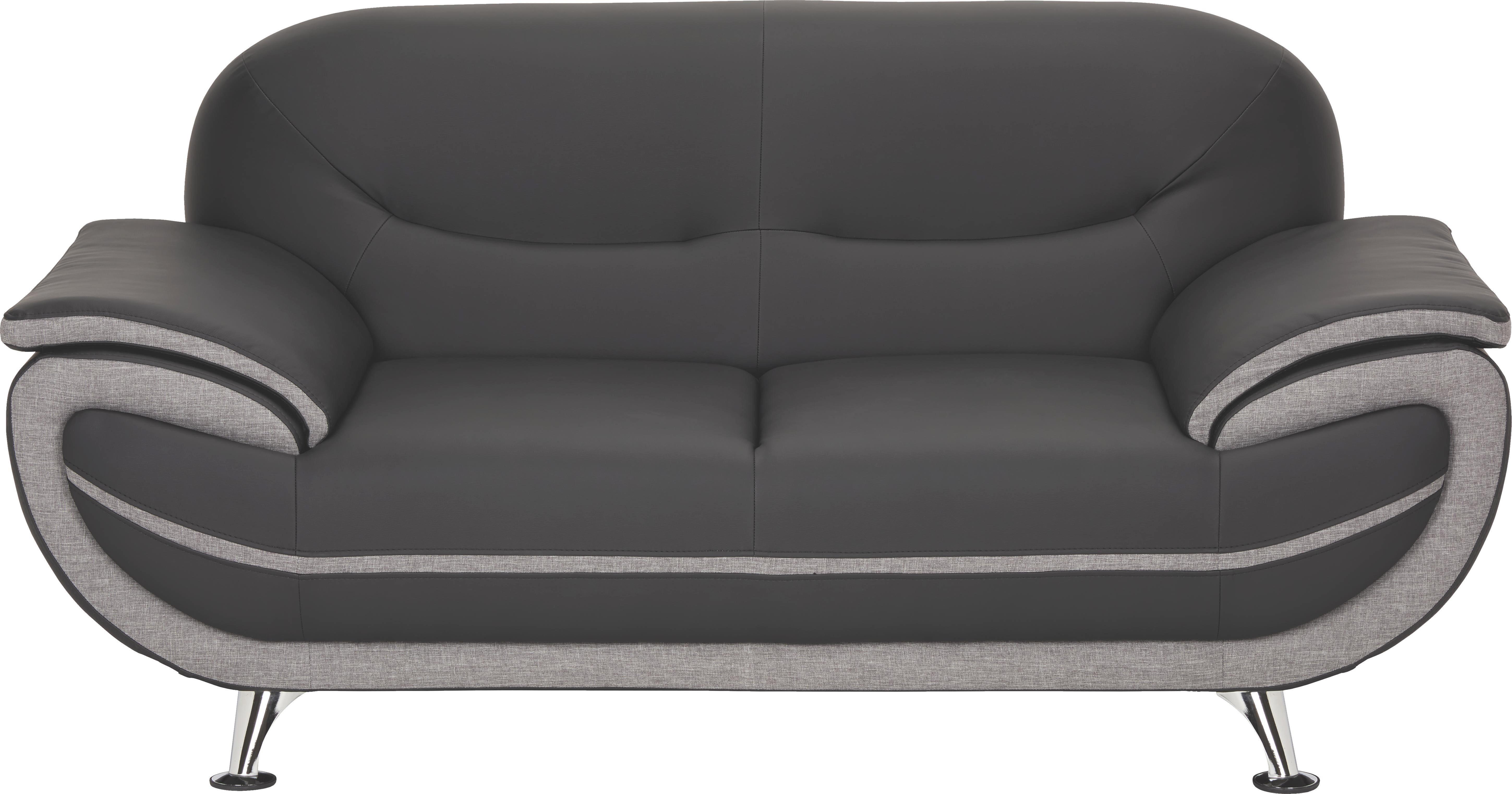 cool zweisitzer sofa lederlook webstoff grau schwarz online kaufen with webstoff sofa