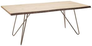 ESSTISCH Wildeiche furniert rechteckig Eichefarben, Edelstahlfarben - Edelstahlfarben/Eichefarben, Design, Holz/Metall (200/100/77cm) - Dieter Knoll