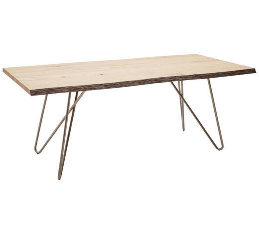 ESSTISCH in Holz, Metall 200/100/77 cm   - Edelstahlfarben/Eichefarben, Design, Holz/Metall (200/100/77cm) - Dieter Knoll