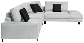WOHNLANDSCHAFT in Textil Hellgrau  - Hellgrau/Schwarz, Design, Textil/Metall (316/273cm) - Dieter Knoll
