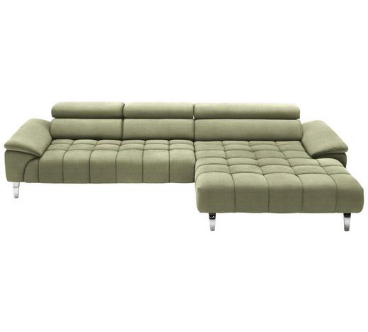 WOHNLANDSCHAFT in Textil Hellgrün  - Chromfarben/Hellgrün, Design, Textil/Metall (329/190cm) - Beldomo Style