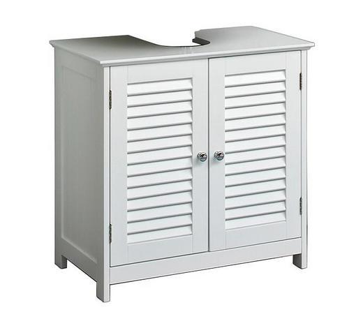 WASCHBECKENUNTERSCHRANK Weiß  - Chromfarben/Weiß, Trend, Holzwerkstoff/Metall (60/58/35cm) - Carryhome