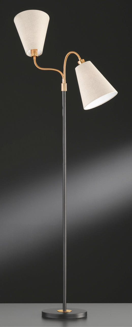 STEHLEUCHTE - Schwarz/Naturfarben, LIFESTYLE, Textil/Metall (170cm)