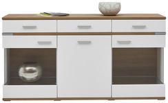 SIDEBOARD Hochglanz, matt, tiefgezogen Eichefarben, Weiß - Eichefarben/Silberfarben, Design, Glas/Holzwerkstoff (180,1/93,1/41,2cm) - Hom`in