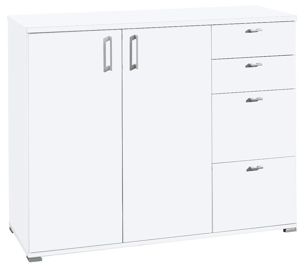 KOMMODE in Weiß - Silberfarben/Weiß, Design, Holzwerkstoff/Kunststoff (131/103/43cm) - CS SCHMAL