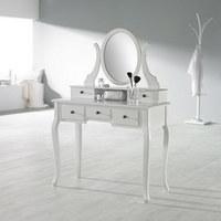 STOL ZA ŠMINKANJE - bijela/crna, Lifestyle, drvni materijal/metal (97/142/40cm)