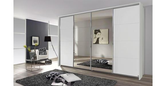 Schwebetürenschrank mit Spiegel 361cm Bensheim, Weiß Dekor - Weiß, MODERN, Holzwerkstoff (361/230/62cm) - James Wood