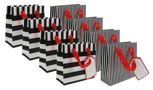 Geschenktaschenset 8teilig  8 Stück  Schwarz, Weiß - Schwarz/Weiß, Papier (26/32/12cm)