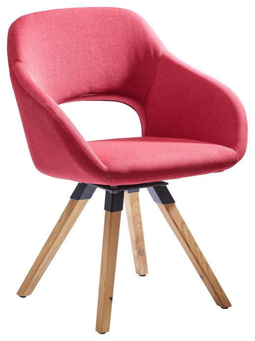 STUHL Textilgeflecht Eichefarben, Rot - Eichefarben/Rot, Design, Holz/Textil (63/82/59cm) - Valnatura