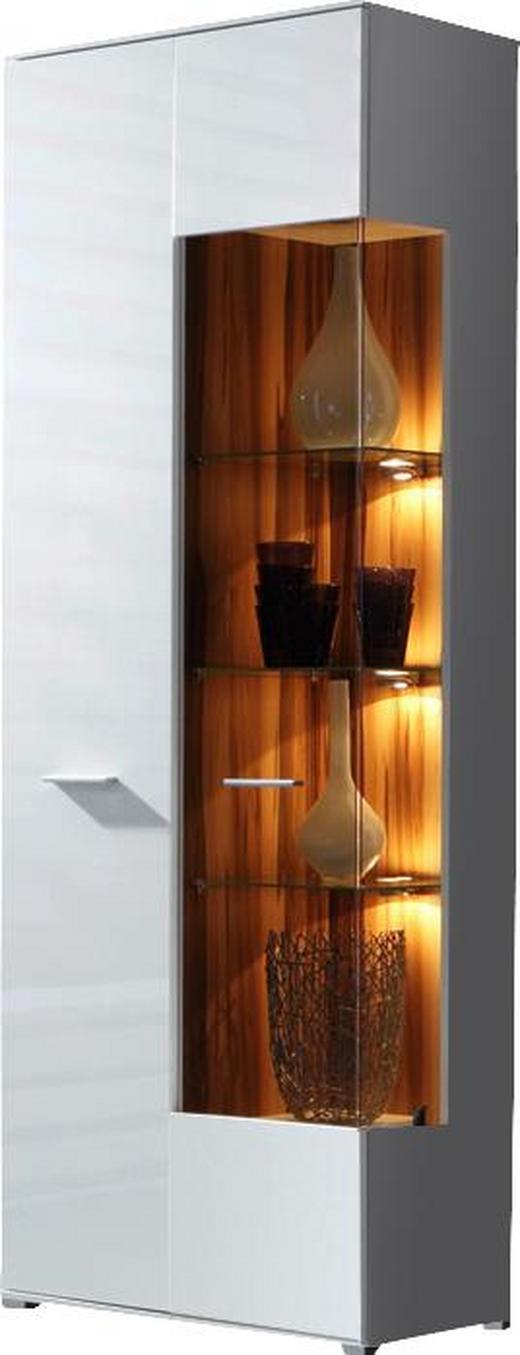 VITRINE Weiß - Silberfarben/Weiß, Design, Glas/Holz (75/197/37cm) - Carryhome