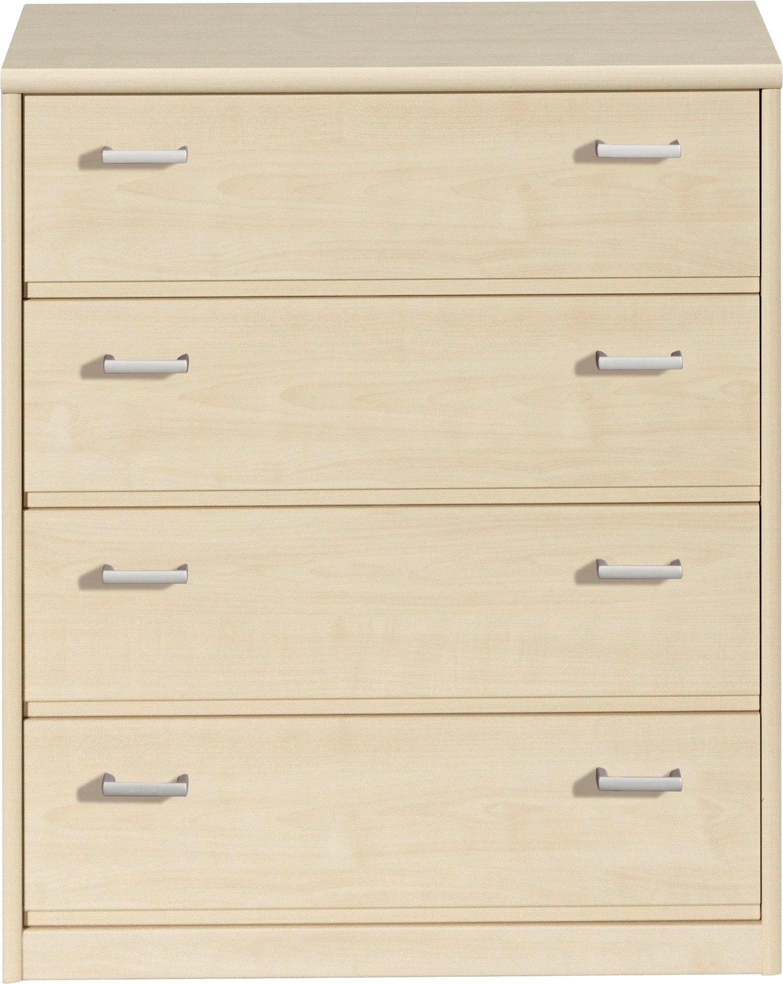 KOMMODE in Ahornfarben - Silberfarben/Ahornfarben, KONVENTIONELL, Holzwerkstoff/Kunststoff (72/84/36cm) - CS SCHMAL