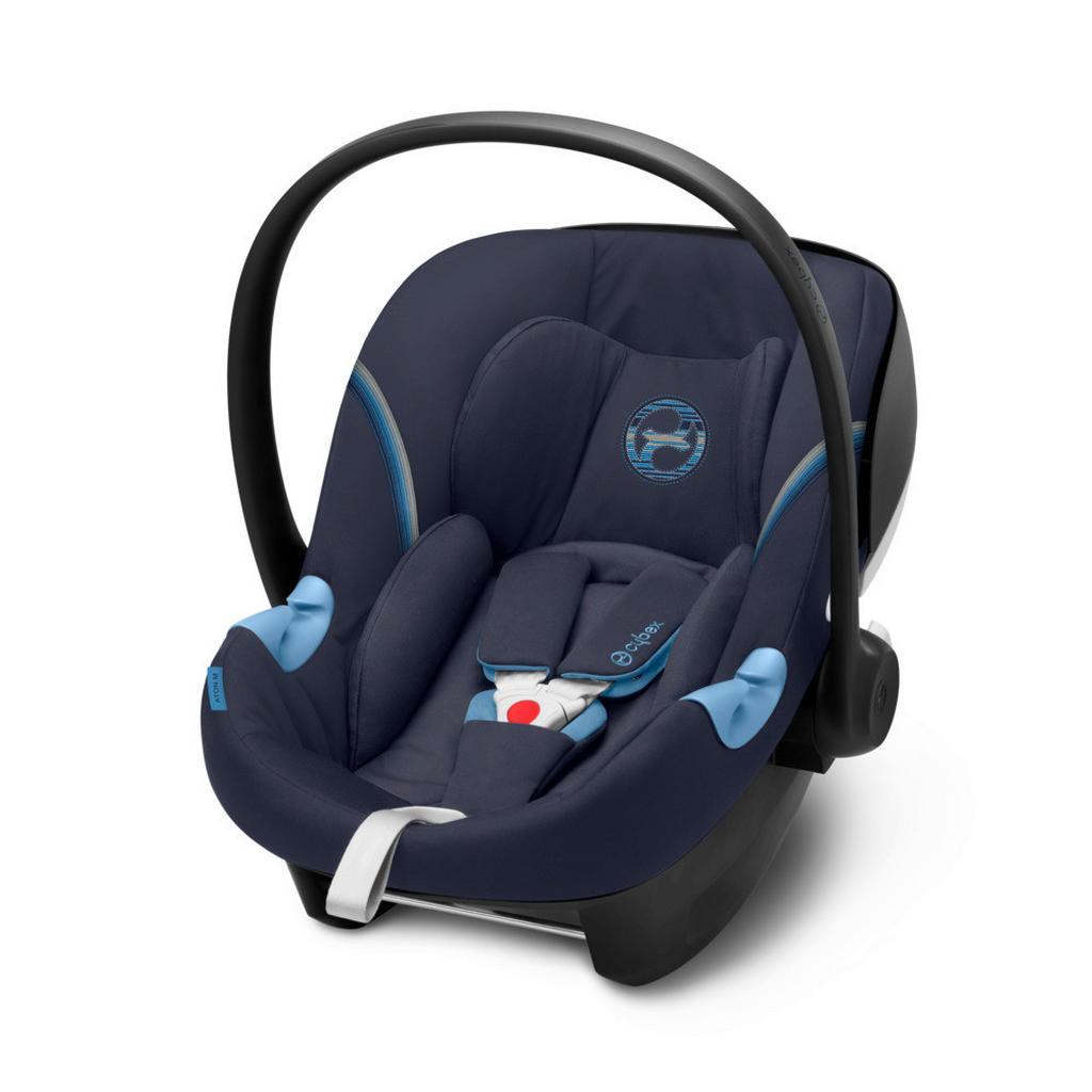 Image of Cybex Babyschale 2020 , Aton M I-Size , Dunkelblau , Textil , 44.0x39.0-56.5 cm , Mikrofaser , abnehmbarer und waschbarer Bezug, ergonomischer Tragebügel, Flugzeugzulassung, Gurtlängenverstellung, höhenverstellbare Kopfstütze, Sonnendach, integriertes Gur