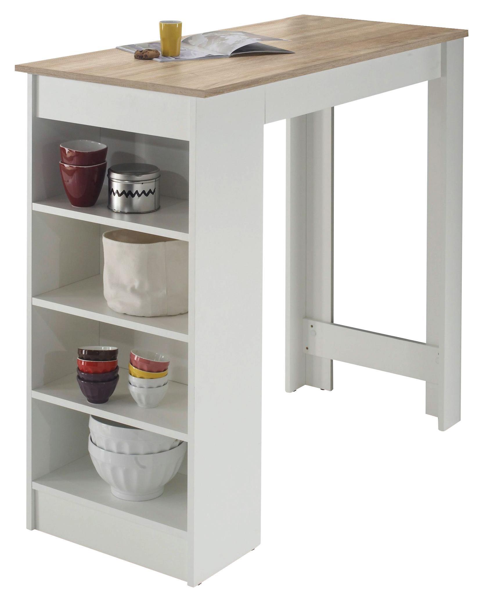 BARSKI STOL - bijela/boje hrasta, Design, drvni materijal (115/104/50cm) - Ti`me
