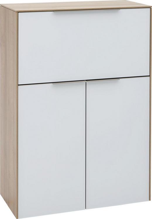 SEKRETÄR Eichefarben, Weiß - Eichefarben/Weiß, Design, Glas/Metall (80,8/115,6/38,2cm) - Voleo