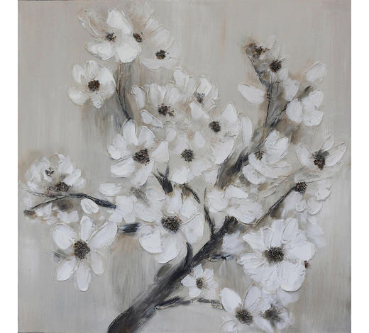 Blumen ÖLGEMÄLDE  - Schwarz/Braun, LIFESTYLE, Holz/Textil (70/70cm) - Monee