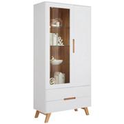VITRINE in Weiß - Eichefarben/Weiß, Design, Glas/Holz (95/200/41cm) - Hom`in