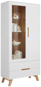 VITRINE Weiß - Eichefarben/Weiß, Design, Glas/Holz (95/200/41cm) - HOM`IN