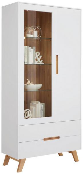 VITRINSKÅP - vit/ekfärgad, Design, glas/trä (95/200/41cm) - Hom`in