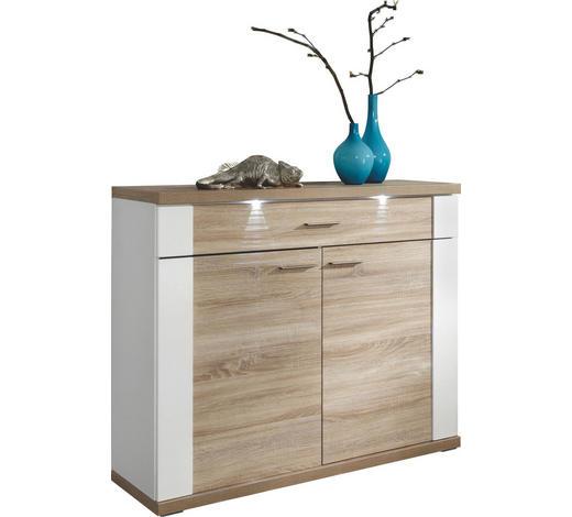KOMMODE Weiß, Eichefarben  - Chromfarben/Eichefarben, Design, Holzwerkstoff/Kunststoff (129/107/42cm) - Xora