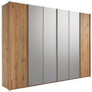 KLEIDERSCHRANK in massiv Wildeiche Braun, Eichefarben - Eichefarben/Silberfarben, Natur, Glas/Holz (299/222,3/57cm) - Valdera