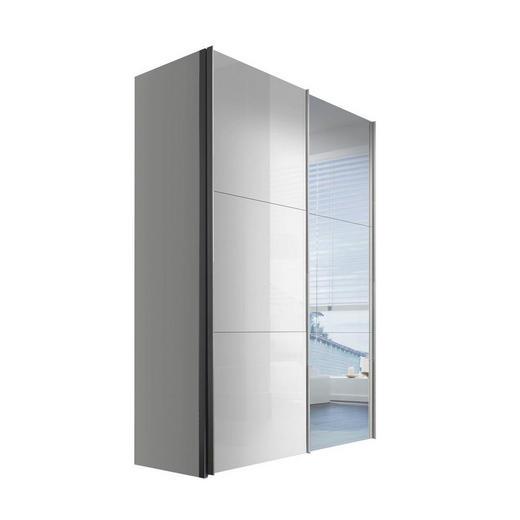 SCHWEBETÜRENSCHRANK 2-türig Weiß - Alufarben/Weiß, KONVENTIONELL, Glas/Holzwerkstoff (150/216/68cm) - Hom`in